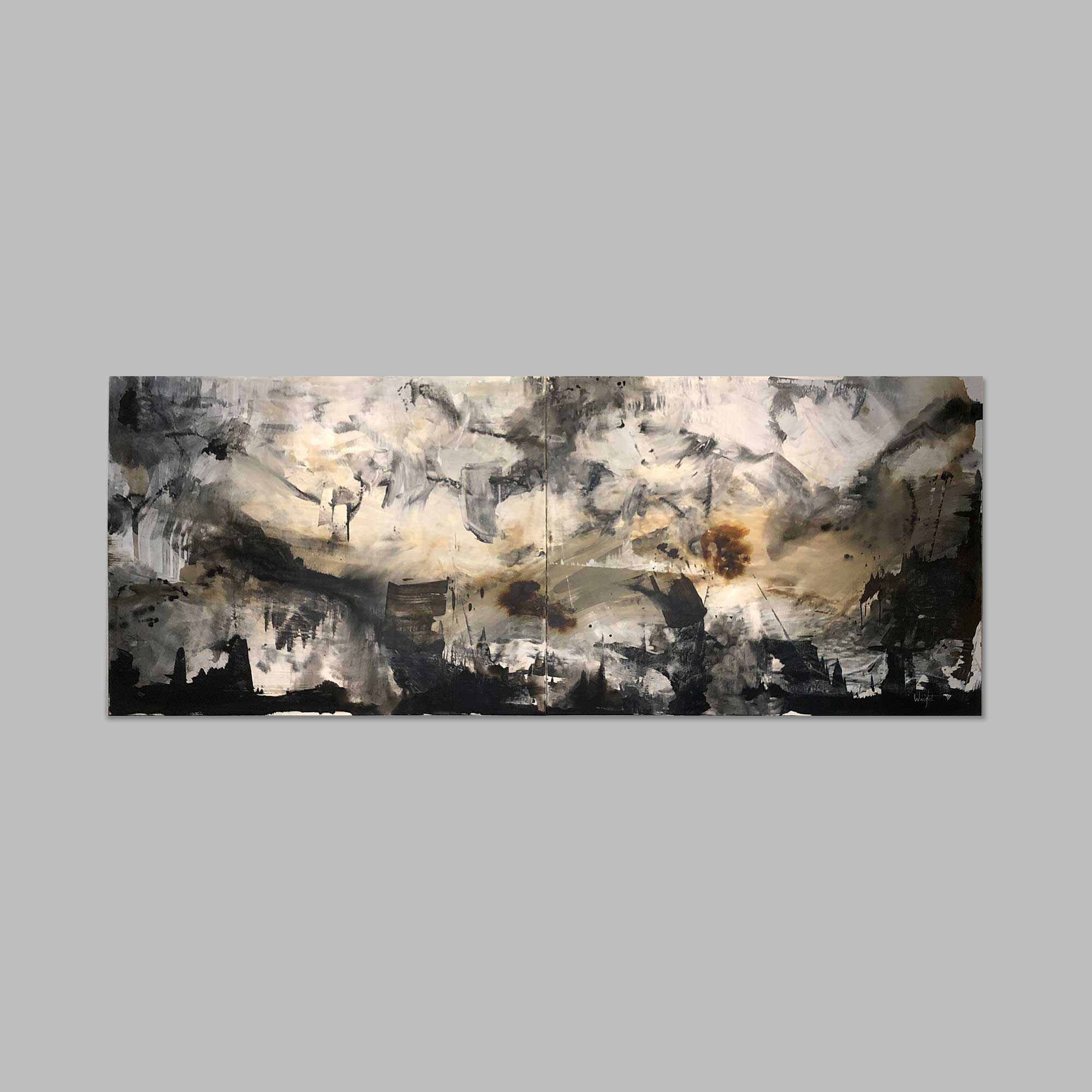 Abstract Black and White Gray Wall
