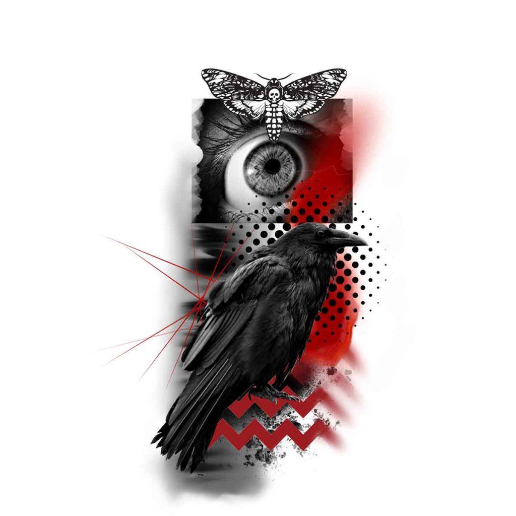 Raven Trash Polka Tattoo Design