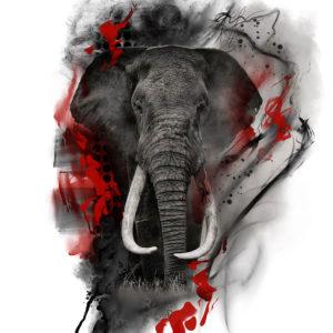 elephant trash polka design