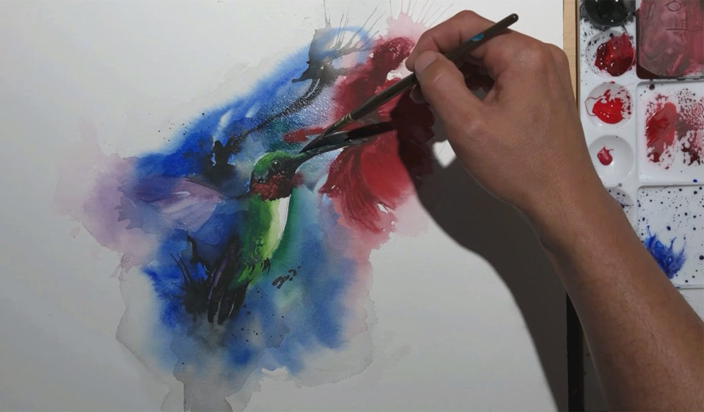 hummingbird hibiscus watercolor painting